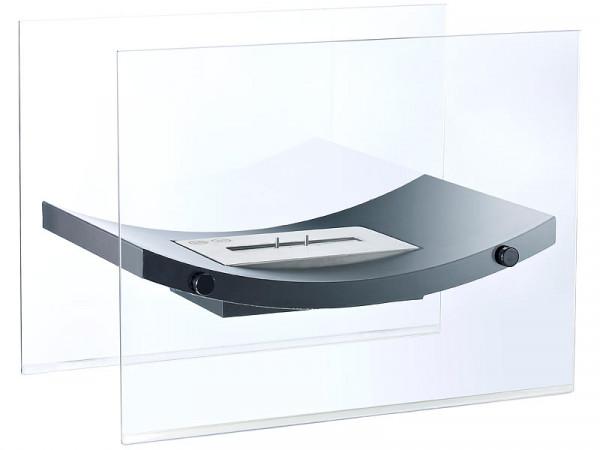 Design Luxus Gläserner Standkamin mit Edelstahlkammer für Bio-Et