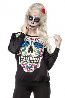 Mexican Skull Sweatshirt mit elastische Rippbündchen an Arm- und Saumabschluss