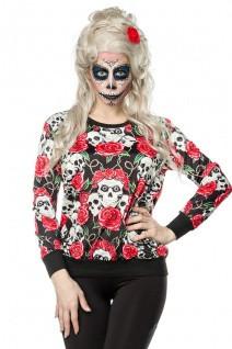 Skulls and Roses Sweatshirt mit elastische Rippbündchen an Arm- und Saumabschluss