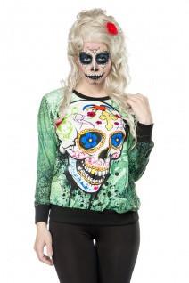 Skull Sweatshirt mit elastische Rippbündchen an Arm- und Saumabschluss