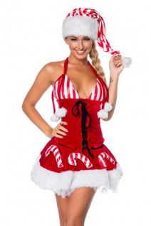 Weihnachts-Set mit Mütze mit eingearbeitetem Petticoat